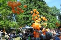 Začátek posledního večerního programu - oranžové balónky